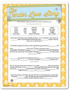 tender love story bridal shower game | just b.CAUSE