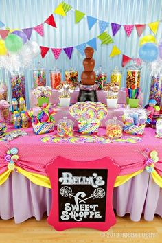Cute candy bar party  Love the frame idea, and the chocolate fountain. super cute idea!