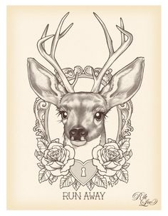 rik lee, traditional tattoo design, deer, antlers, roses, lock, illustration, sketch