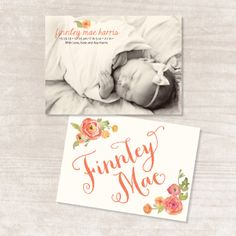 Baby Girl Floral Watercolor Birth Announcement