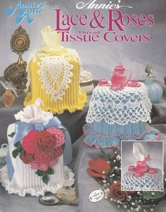 Tissue Box Covers Crochet Patterns - 6 Lace & Roses Designs
