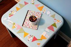 art table, table redo, playroom, modg podg, craft tables, kid crafts, american crafts, banner, craft rooms