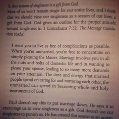 Singleness is a gift from God.