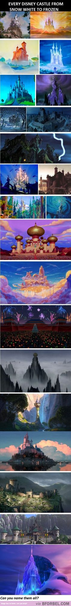22 Disney Castles Across Time - Snow White, IDK, Fantasia, Cinderella, IDK, IDK, The Sword in the Stone, Robin Hood, The Black Cauldron? The Little Mermaid, The Little Mermaid, Beauty and the Beast, Fantasia 2000?, Aladin, Hercules, Mulan, The Road to El Dorado?, Rapunzel, Rapunzel, Brave, Frozen and Frozen.