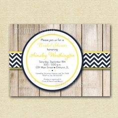 Wood Grain Fence with Chevron Accent Bridal Shower Invite - Navy Blue and Yellow - PRINTABLE INVITATION DESIGN. $12.50, via Etsy.
