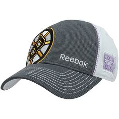 Reebok Boston Bruins 2013 Hockey Fights Cancer Draft Flex Hat - Charcoal/White $23.95