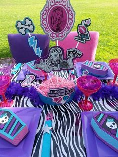 Decorated table at a Monster High Birthday Party!  See more party ideas at CatchMyParty.com!