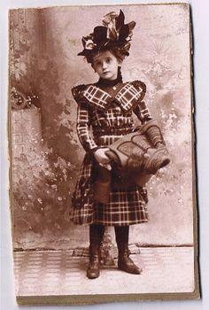 Smart Tartan Dress for a little Scottish Gem of a Girl. Circa 1885
