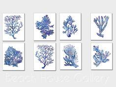 Indigo Blue Coral Prints Blue Sea Coral Print by BeachHouseGallery, $41.99