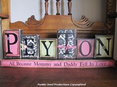 Girl's Personalized and Customized Name Word wood blocks girls name sign personalized on Etsy, $42.00 I love this idea for baby's room!!
