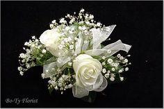 white roses, white rose wrist corsage, flower