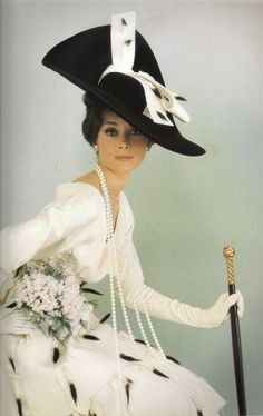 """Audrey Hepburn in another Cecil Beaton design for """"My Fair Lady"""", Vogue 1964"""