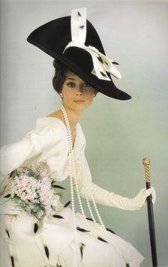 Audrey Hepburn in Vogue1964 film, costum, icon, fashion, cecil beaton, dresses, audrey hepburn, black white, hat