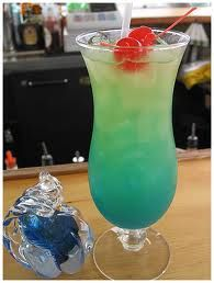 Blue Bacardi Hurricane Cocktail drink recipe