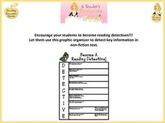 Engage your students with this non-fiction graphic organizer and encourage them to become reading detectives....