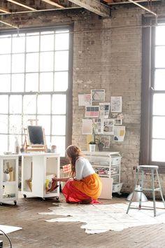 interior design, studio spaces, studios, art studio, design interiors, offic, bricks, exposed brick, workspac
