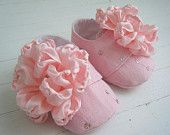 Pink Baby Shoes With Silk Flower, Baby Girl Booties 'Peony' by BobkaBaby