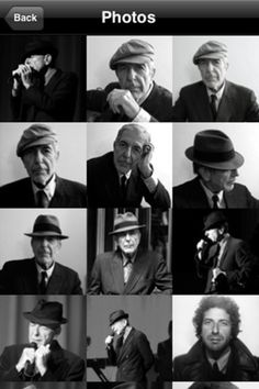 Cool Leonard Cohen iPhone App: News, Tour, Blog, Music, Videos, Photos <3