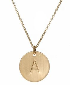 gold initial necklace / max & chloe style, initials, initial necklaces, inspir pendant, gold initi, disc necklac, initi necklac, jewelri, gold plate
