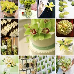 Lime green wedding deco.