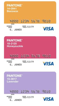 Pantone Visa cards | The House of Beccaria~