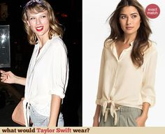 Taylor Swift's white tie front top with lace back. Outfit Details: http://wwtaylorw.com/3103