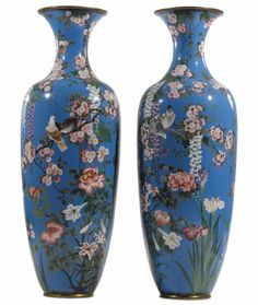 A Pair of Monumental Japanese Vases. Japanese. 19th century, Meiji period. Cloisonne enamel.