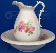 Homer Laughlin Pitcher & Basin!  beautiful!!!