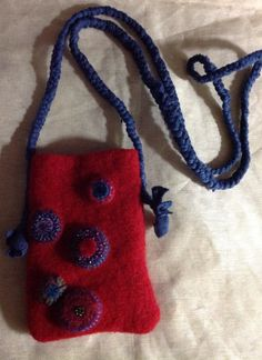 Wool felt iPhone 6 case phablet  fablet upcycled wool sweater hand braided strap by mcleodhandcraftgifts,