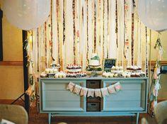 ribbon backdrop dessert bar