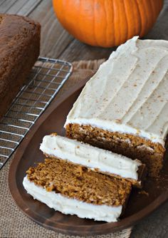 Orange Pumpkin Bread with Cinnamon Cream Cheese Icing | mountainmamacooks.com