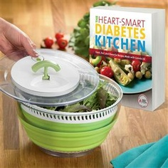"Give the gift of more cupboard space! This high-quality pull-cord salad spinner collapses to less than 3"" tall and can be used as a serving bowl. Great for making salads that go with recipes from The Heart-Smart Diabetes Kitchen. Fresh, fast and flavorful recipes for 151 dishes that are low in saturated fat and cholesterol but high in flavor. $37.99"