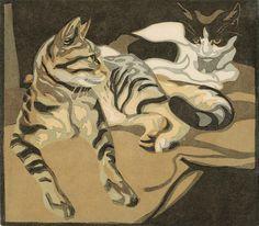 Norbertine von Bresslern-Roth - Two Cats, 1920's - Linocut