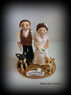 Wedding Cake Topper with Two Pets ~ By Trina's Clay Creations