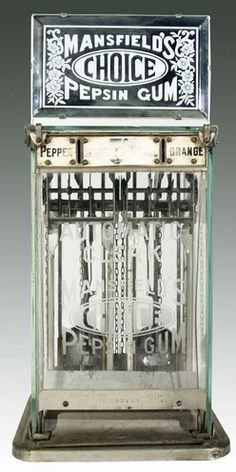 Mansfield's Choice Pepsin Gum, Glass Case, Marquee, 5 Cent. A Mansfield's Pepsin Gum glass case vendor