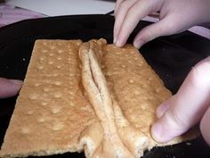 Making mountains with graham crackers!