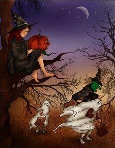 fallawesom autumn, halloween town, hallow eve, halloween art