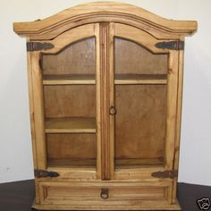 Heavy Large Old Handcrafted Honey Pine Country Wall Cabinet•Glass Doors•Iron Hardware Shabby Chic Colonial Style