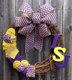 LSU Louisiana State Chevron Burlap College Football by KMMGdesigns