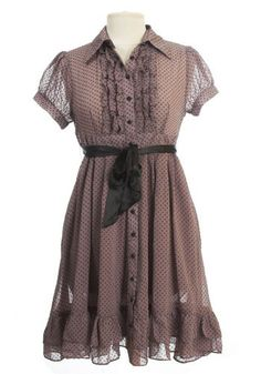 Dotty Dress. Destined to become a wardrobe staple, with cap sleeves, tuxedo-style bib, and satin buttons and bow.  #modcloth