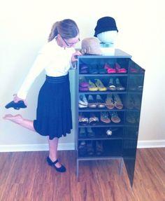 Repurpose an old stereo cabinet into a mini shoe closet!