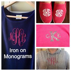 Monogram Iron On Vinyl Monogram iron on letters by PinsPaperNPaint, $7.00+