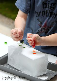 Freeze water in a milk box - when frozen, cut off outside. Kids then add salt and drops of watercolor to watch it melt .. science and fun!#Repin By:Pinterest++ for iPad#
