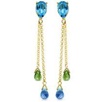 14k Gold Natural Blue Topaz and Peridot Threaded Drop Dangle Earrings blue topaz, natur blue, dangl earring, dangle earrings