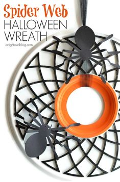 Fun and easy Spider Web Halloween Wreath made from a ceiling medalion at anightowlblog.com | #Halloween #decor #wreath  ☀CQ #crochet #halloween #pumpkin #jackolantern #crafts #DIY