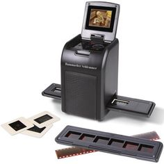 Slide and negative-to-digital picture converter. 9 megapixel resolution. In 3-5 seconds a slide or negative can be made into a digital JPEG file and previewed on the built in screen. SD memory card. Can transfer photos to a PC or a Mac using USB cable. AC and rechargeable battery. $129.95