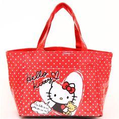 red Hello Kitty lunch bag heart teddy bear dots