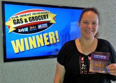 Angela Matson won $100 in The Great Gas & Grocery Giveaway from KXLY4, Divine's & Yokes.