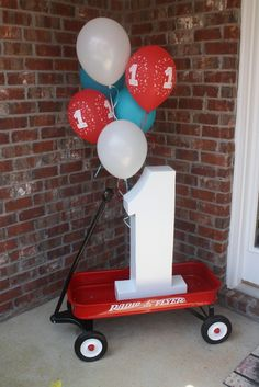 "Photo 1 of 18: little red wagon / Birthday ""Fulton's 1st Birthday"""