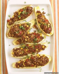 60+ Recipes Using Summer Squash or Zucchini (Pictured: Stuffed Tex-Mex Yellow Squash)